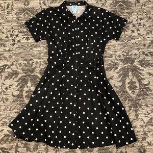 CeCe Black and Cream Polka Dot Dress
